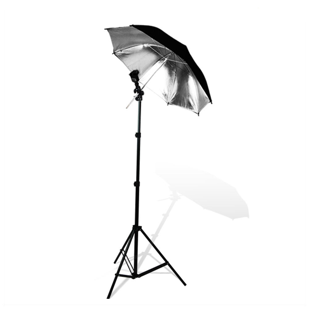 Tilt Off-Camera External Speedlite Flash Mount with Aluminum Alloy Light Stand and Black/Silver Umbrella