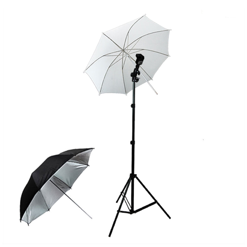 Hotshoe Mount Flash Adapter Kit with White and Silver Umbrella Light Diffuser and Aluminum Alloy Light Stand