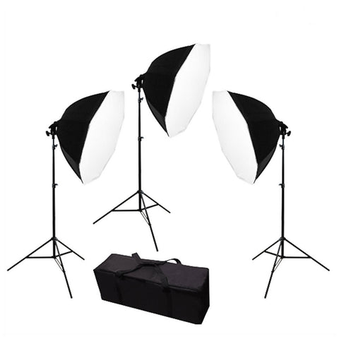 Triple Octagon Softbox Light Stand Kit for Photography and Video with Convenient Carry Case for Travel by Loadstone Studio
