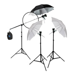 Reflector Boom Arm Extension with Two Umbrella External Flash Mount Stands and Reflector for Photography