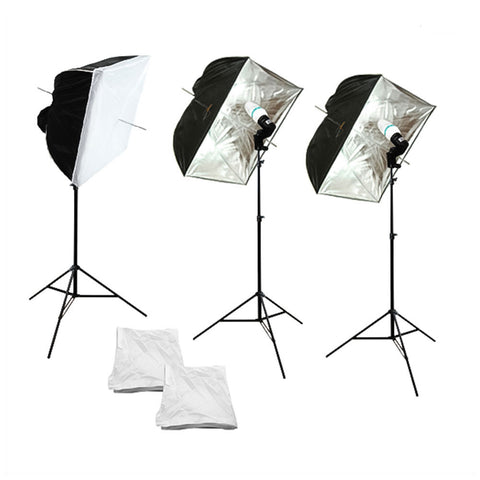 Triple Square Softbox Umbrella Continuous Lighting Kit with Silver Interior and Pure White Diffusion Cover by Loadstone Studio