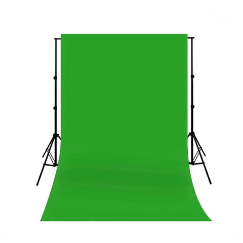 Premium Chromakey Green Screen Muslin Backdrop with Backdrop Support Stand and Five Quick Install Clips by Loadstone Studio