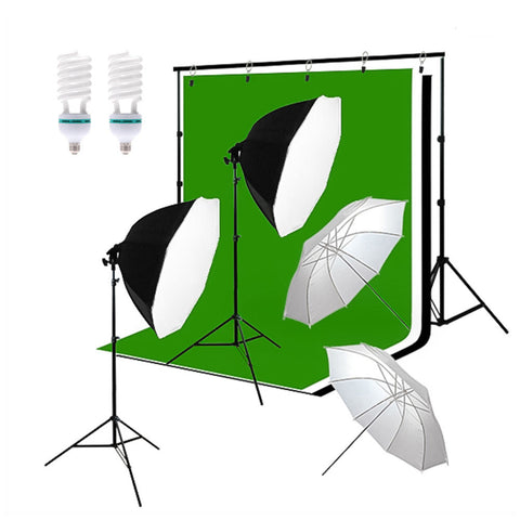 Octagon Softbox Continuous Lighting Kit with Backdrop Support Stand and Muslins for Photo and Video by Loadstone Studio