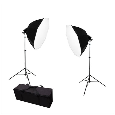 Dual Octagon Softbox Light Stand Kit with Aluminum Alloy Stands and Carry Case for Photo and Video Sets by Loadstone Studio