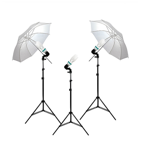 "Triple 33"" Umbrella Continuous Lighting Kit 6500K CFL Bulb with Single Bulb Light Socket and Light Stand by Loadstone Studio"