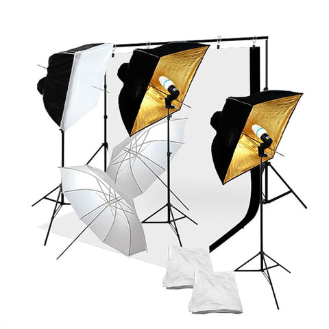 "24""x24"" Umbrella Softbox Complete Kit with Backdrop Stand, 5'x10' Muslin, Light Socket, and Bulb by Loadstone Studio"