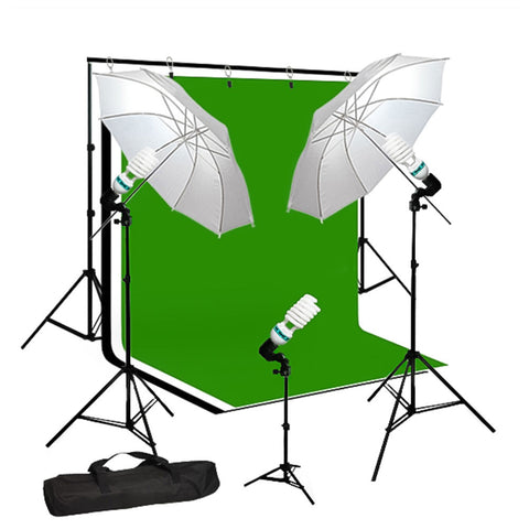 "33"" Full Umbrella Lighting Kit with Muslin, Backdrop Support, Light Socket, CFL Bulbs, and Carrying Bag by Loadstone Studio"