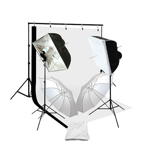 Black/Silver Softbox Continuous Kit with Backdrop Stand, Boom Stand, Muslin, CFL Bulbs, Socket, and Bag by Loadstone Studio