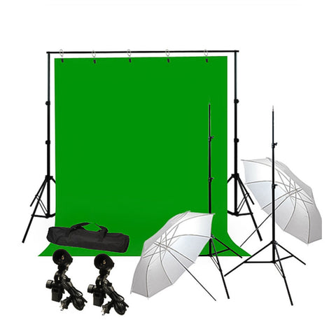 Photography Umbrella Lighting Kit with Background  Support Stand, Muslin, Light Socket, CFL Bulb, and Bag by Loadstone Studio