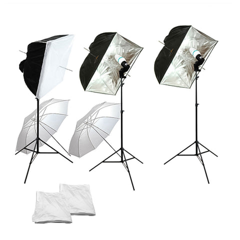 Trio Softbox and Umbrella Continuous Lighting Kit with Light Stand, Softbox, Umbrella, Bulb Socket, and Bulb by Loadstone Studio