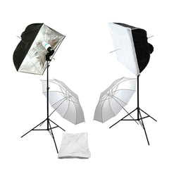 2 Umbrella with 2 Softbox Continuous Lighting Kit with Light Stand, Bulb Socket, and Bulb for Photo Video by Loadstone Studio