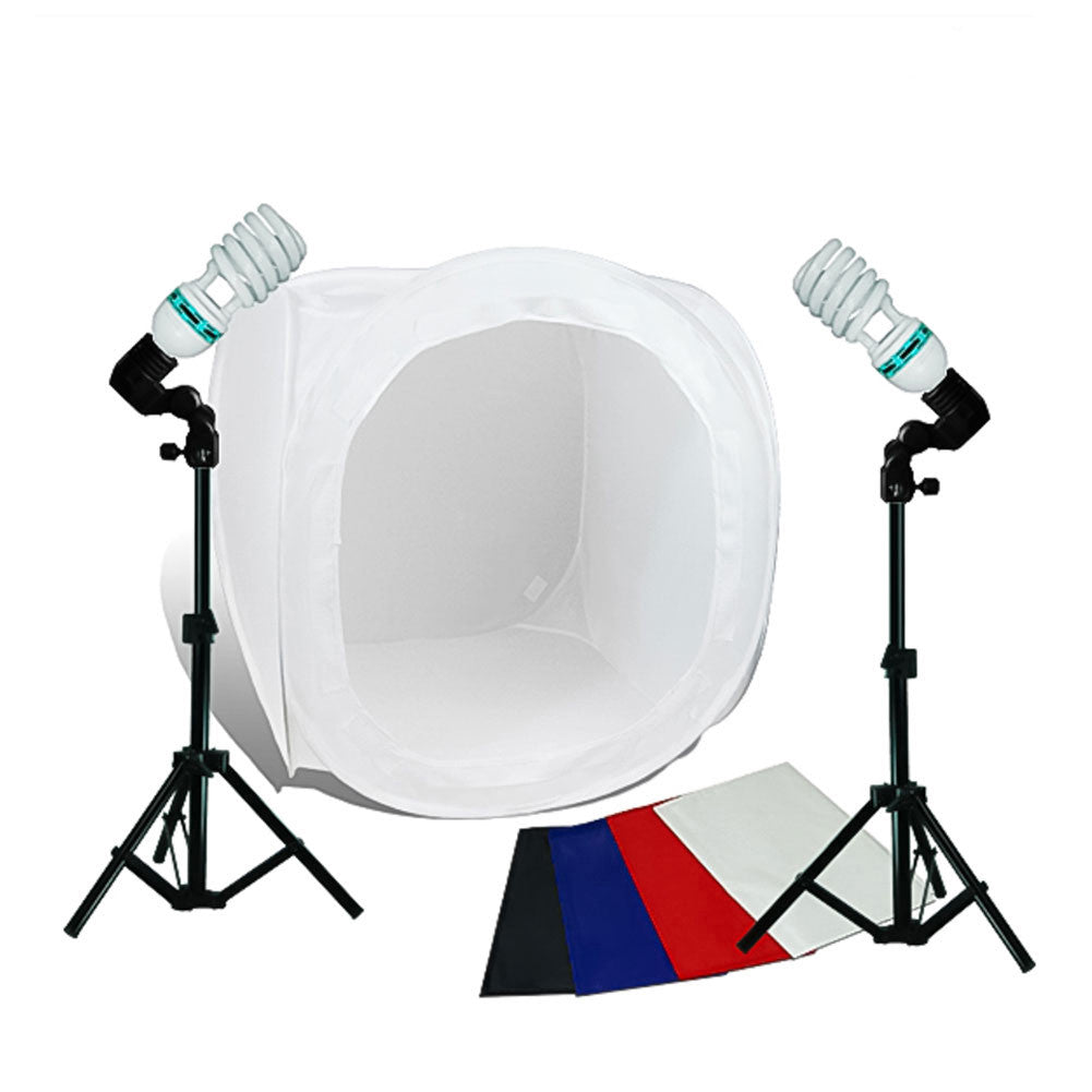 Easy Setup Softbox Cube Portable Tent Kit with Multi-color Background, 2 Light Stands, 2 Sockets, and Bulbs