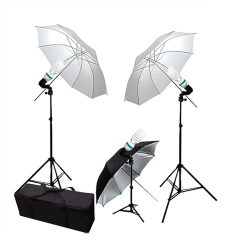 33-inch Collapsible White and Black/Silver Umbrella Lighting Kit with 2x Light Stand, 1x Mini Stand, and Bag by Loadstone Studio