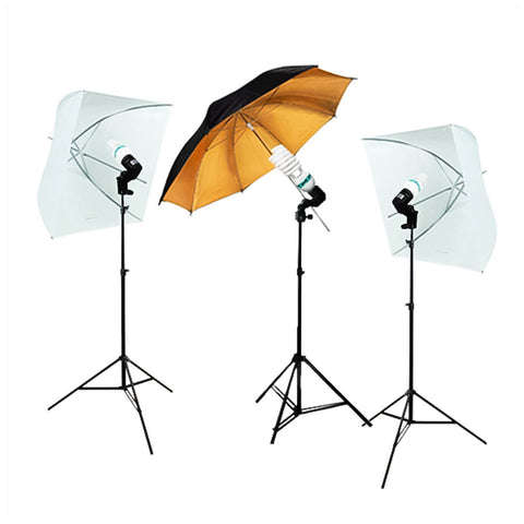 Shoot Through Light Umbrella Continuous Lighting Kit with Black/Gold Umbrella, Bulb, Stand, Bulb Socket