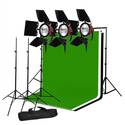 Trio 2400W 2800K Tungsten Continuous Light Kit with Muslin, Backdrop Support System, Barndoors, and Bag by Loadstone Studio