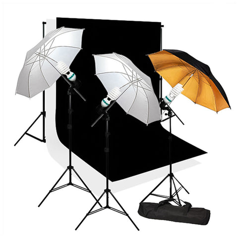 600W Photo Lighting Kit 3x Light Stands, 1x Gold, 2x White Umbrellas, and Muslin Backdrop Support System by Loadstone Studio