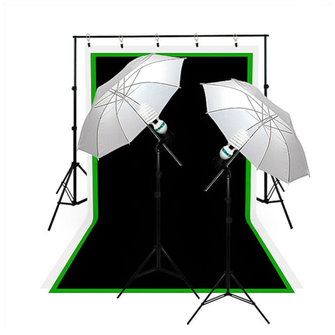 Umbrella Complete Lighting Kit with Muslin, Background, Stand, Light Socket, CFL Bulb, Lighting Stand by Loadstone Studio