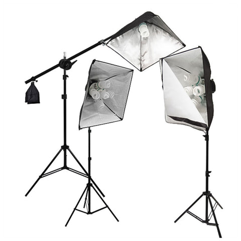 "2000 Watt Three 24"" Softbox Lighting Kit Super Bright Photo Equipment with Softbox, Boom Arm, and Bulbs by Loadstone Studio"
