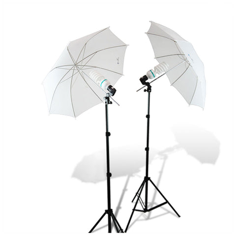 Double Umbrella Continuous Lighting Kit with Light Stands, CFL Bulbs, and Bulb Socket for Photo Equipment by Loadstone Studio.