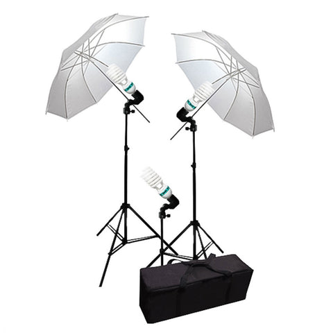 "Dual 33"" Umbrella Continuous Lighting Kit with Light Stands, CFL Bulbs, Bulb Socket and Carrying Bag by Loadstone Studio"
