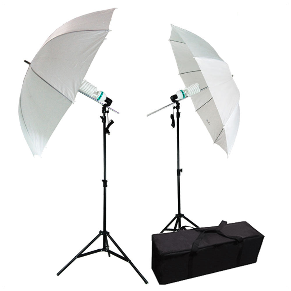 "2x 85W CFL Bulb Photography and Video Lighting Kit with 33"" White Diffuse Umbrellas and Travel Carry Case by Loadstone Studio"