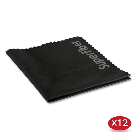 Premium Black Microfiber Cleaning Cloths for Lenses, Laptops, Eyeglasses, & Other Delicate Objects - (12 Pack)