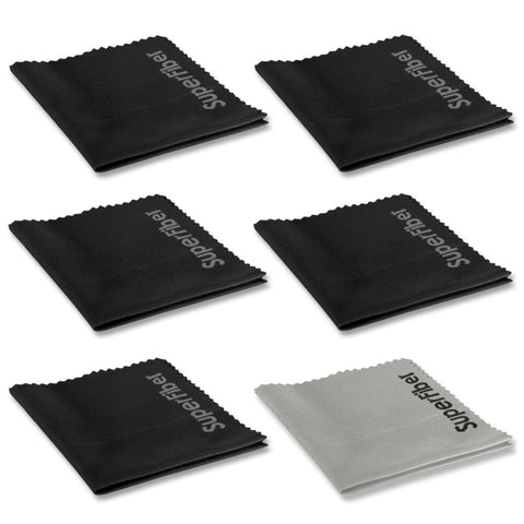 Premium Microfiber Cleaning Cloths for Lenses, Laptops, Phones, & Eyeglasses - (6 Pack; 5 Black, 1 Gray)