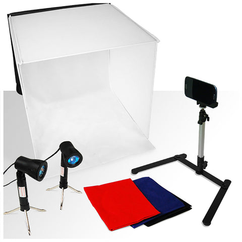 "Loadstone Studio Photography Table Top Photo Light Tent Kit, 24"" Photo Light Box, Continous Lighting Kit, Camera Tripod & Cell Phone Holder"