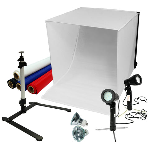 "Loadstone Studio 24"" Table Top Photography Studio Light Tent Kit in a Box - Photo Tent, 2x Double Head Light Set, Mini Camera Stand, 2x GU10 Light Bulbs,"