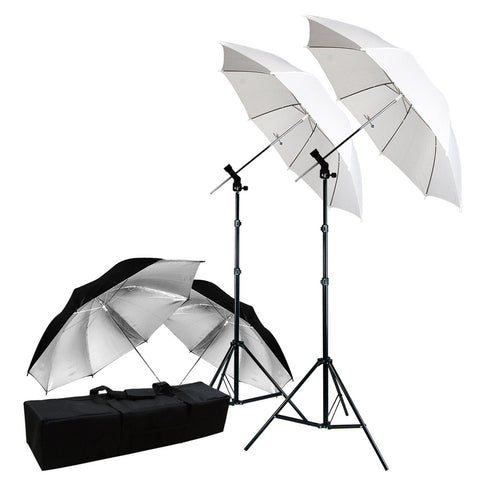 Photography Photo Video Studio Umbrella Flash Mount Hot Shoe Kit - 2xWhite Umbrella Lighting, 2xBlack/Silver Umbrella Lighting