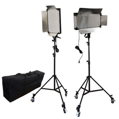 Loadstone Studio 2 Pcs Dimmable 500 LED Photography Photo Video light Panel LED lighting Kit with 6pcs Caster Wheels for Photo Video Studio,