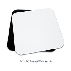 Loadstone Studio 24 Inch Acrylic White & Black Reflective Display Table Background Boards, Product Table Top Photography Shooting,