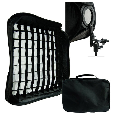 "24""x24"" (60cm X 60cm) Portable Flash Soft Box Diffuser L-shaped bracket flash Ring Kit with Honeycomb Grid"