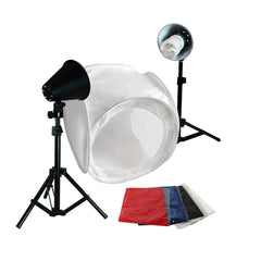"Photography Photo Studio 30 Inch Light Tent Kit, 1 x 30"" x 30"" Table Top Light Tent, 2 x 45 Watt 6500K Daylight Fluorescent Light Kit, 4 x Backgrounds - White Black Blue Red,"