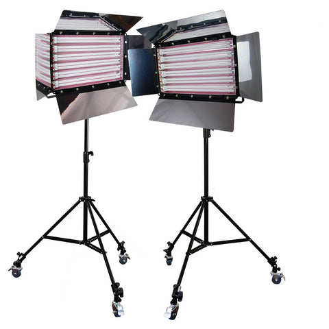 Loadstone Studio Photography Photo Video Studio 3300W Digital Light Fluorescent 6-Bank Barndoor Light Panel Kit with 6pcs Caster Wheels,