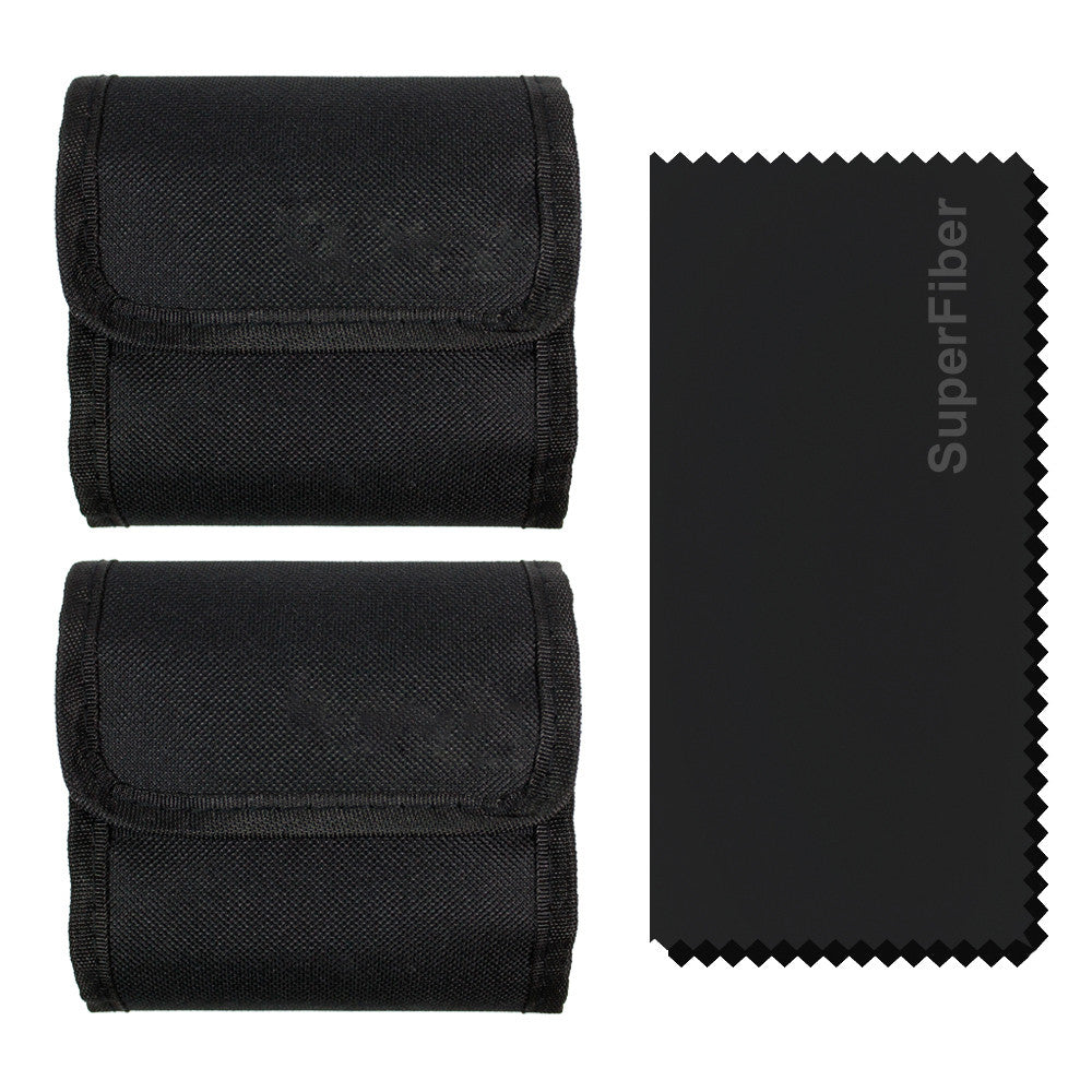 (2 pcs) x 3 Pocket Camera Lens Filter Case Carry Pouch for Round Circular or Square Filters and Black SuperFiber Lens Cleaning Cloth