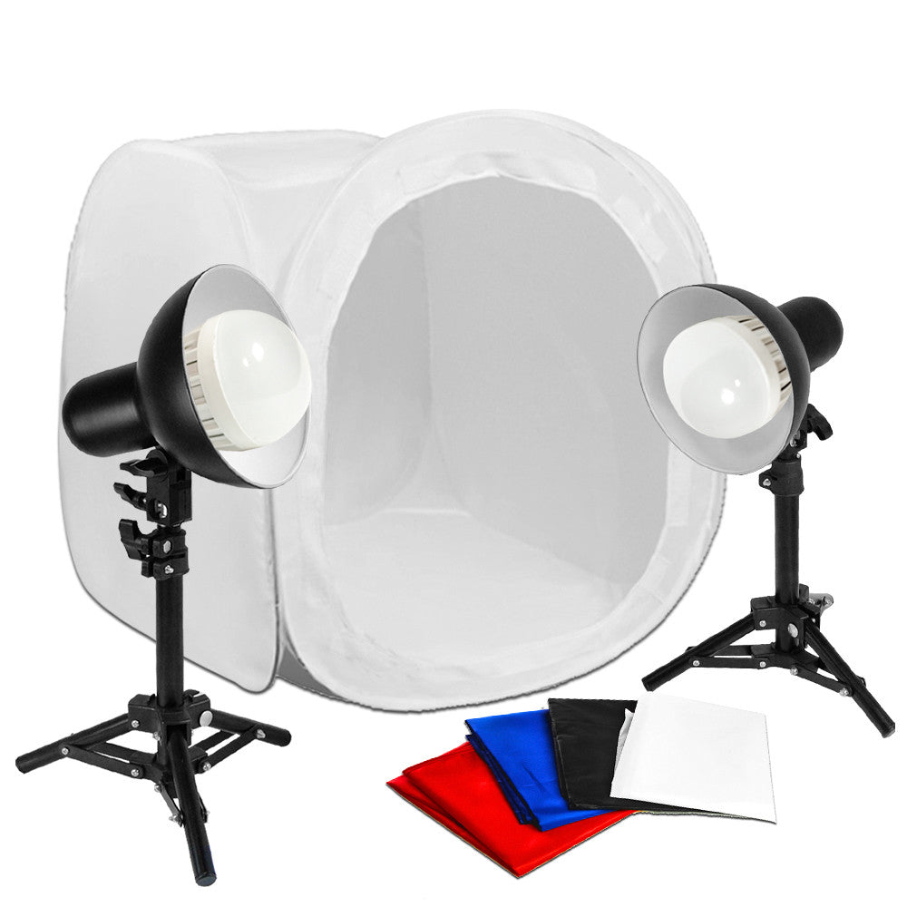 "Loadstone Studio 24"" Shooting Tent 12W LED Table Top Photography Studio Continuous LED Lighting Soft Box Cube Kit,"