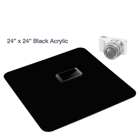 Loadstone Studio 24 Inch Acrylic Black Reflective Display Table Background Board, Product Table Top Photography Shooting,