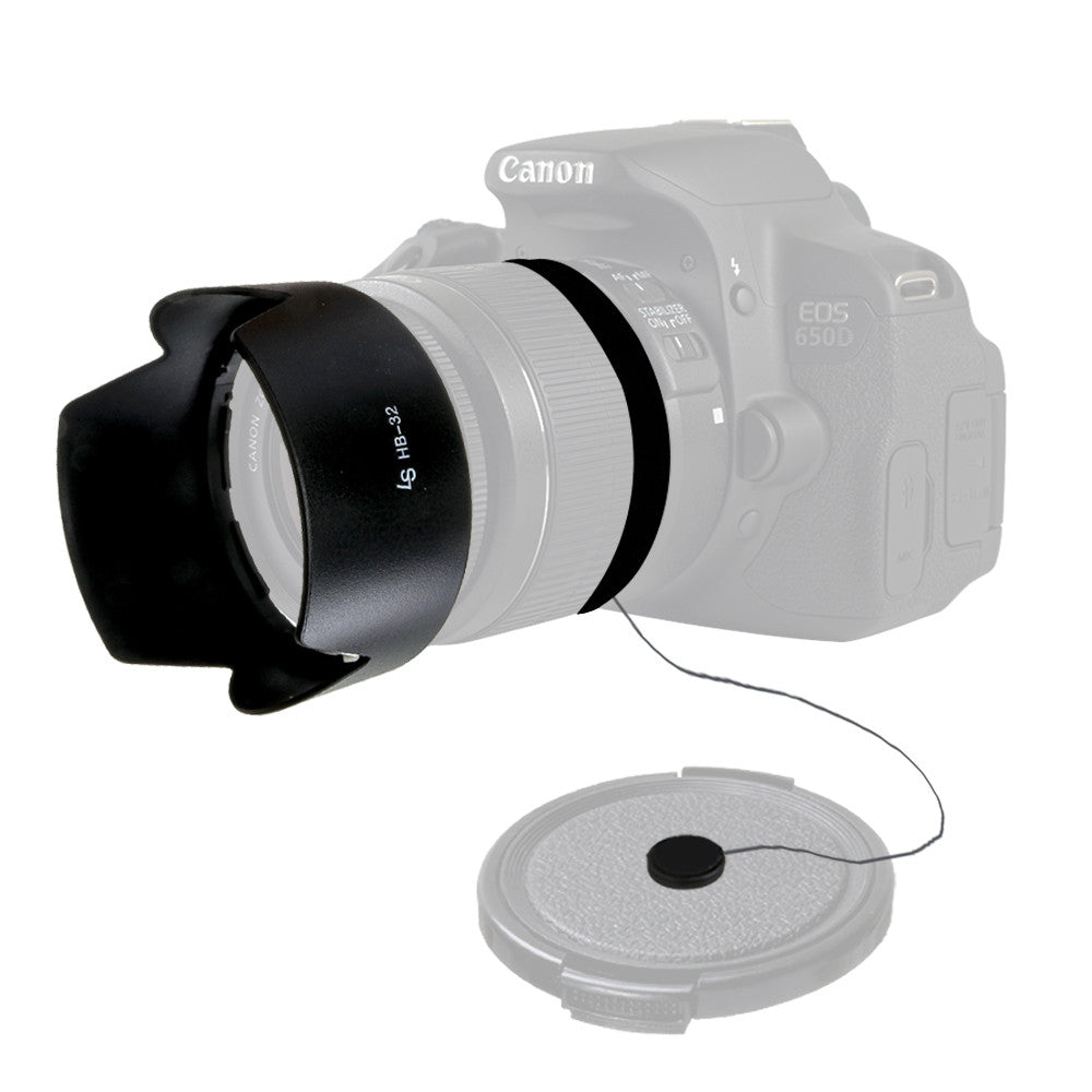 HB-32 Dedicated Petal Lens Hood and Cap Keeper Leash DSLR Camera Accessory