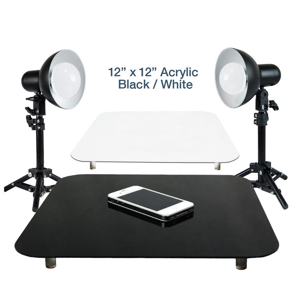 "Loadstone Studio 12"" Acrylic Black & White Reflective Photo Background & 2 Sets of 18W LED Table Top Lighting Kit with Light Stand Tripod, Photo Studio,"