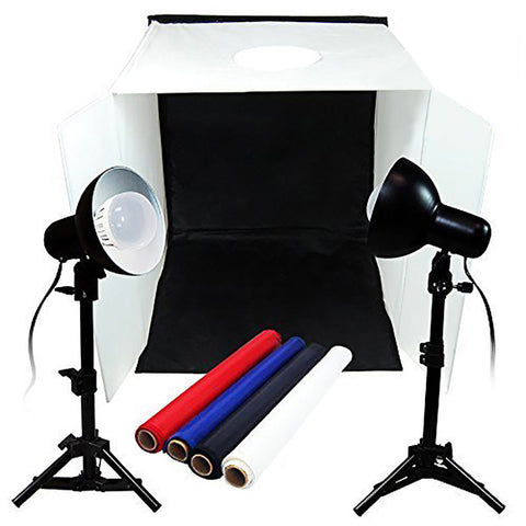 "Loadstone Studio TABLE TOP PHOTO STUDIO 20"" x 20"" SOFT TENT KIT WITH 800-900 LUMENS CONTINUOUS LED LIGHTS ,"