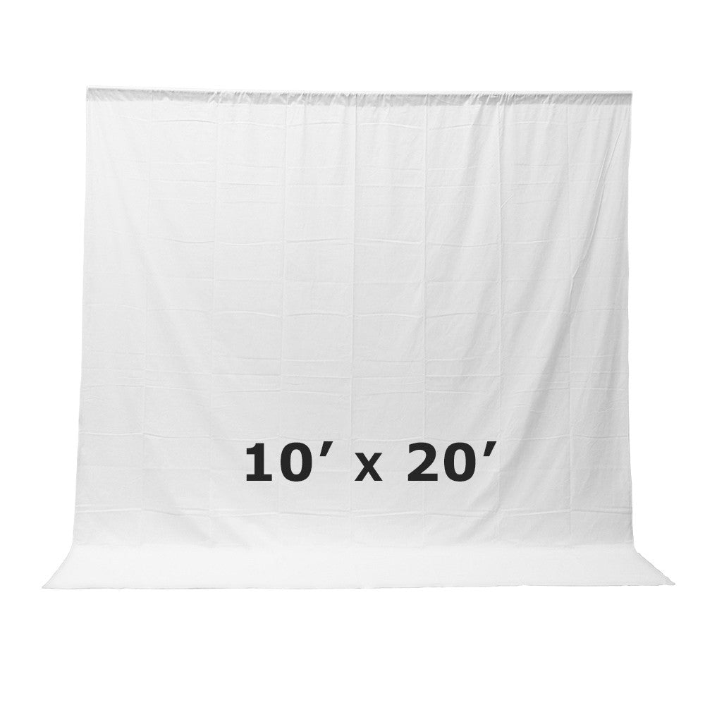Loadstone Studio Photo Video Studio Seamless 10' x 20' Solid White Muslin Backdrop Photo Studio Background ,