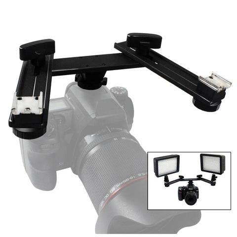 "Photography Studio 5"" Mount Bracket Arm with 2 Cold Shoes for Camera Video Flash LED Light"