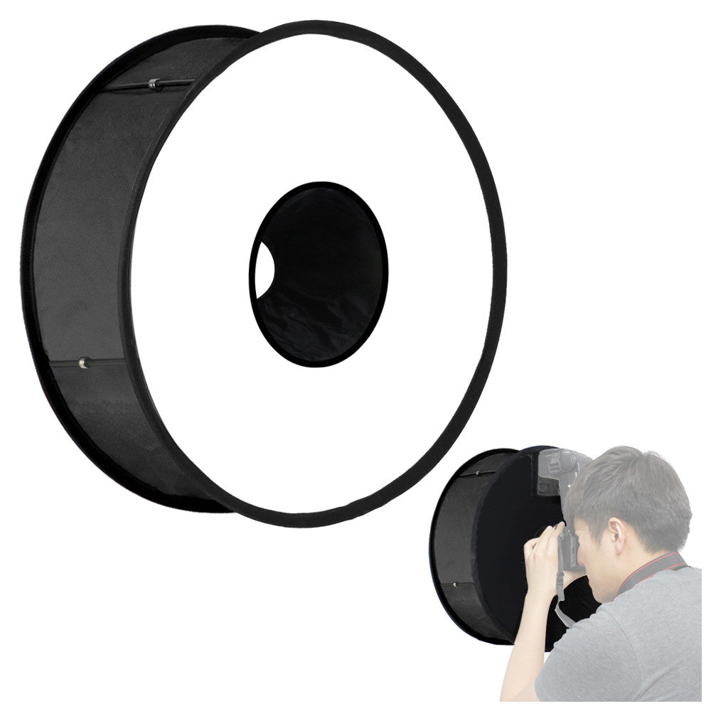 "Round Universal Ring Flash Diffuser 18"" Collapsible & Foldable Softbox for Speedlite and Flash Photography Studio,"