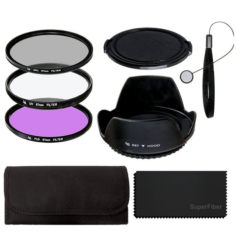 67mm Lens Filter Accessory Kit for Nikon Canon DSLR Camera Filter Kits (UV, CPL, FLD),Carry Pouch,Tulip Lens Hood,Snap-On Lens Cap,Cap Keeper Leash,SuperFiber Lens Cleaning Cloth
