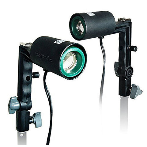 Loadstone Studio 2x Photography Studio Single Light Head Bulb Holder E26/E27 with Hot Shoe Mount,