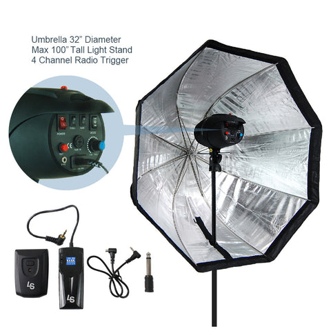 Photography Umbrella Softbox & Speedlite Flash Light Stand Bundle Kit with 4-Channel Radio Remote Trigger, Photo Studio