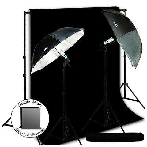 New Photo Photography Video Studio Umbrella Continuous Lighting Light Kit Set - Lighting Stand, 10' X 10' Black Muslin, Carrying Case,