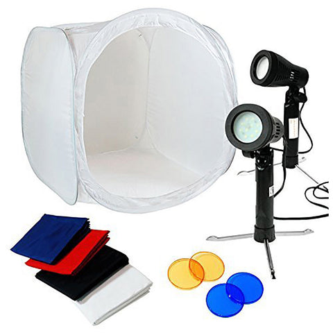 "Loadstone Studio Table Top Photo Studio 24"" Tent Kit - 2Pcs LED Portable Lighting Kit with 2 Colors Gel Filters Blue&Red,"