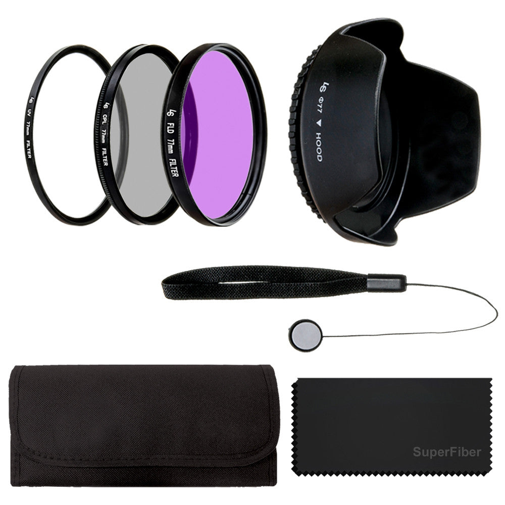 77mm Lens Filter Accessory Kit for Nikon Canon DSLR Camera Filter Kits (UV, CPL, FLD),Carry Pouch,Tulip Lens Hood,Cap Keeper Leash,SuperFiber Lens Cleaning Cloth
